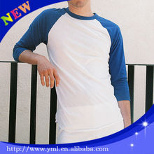 blank raglan 3/4 sleeve baseball t shirt wholesale