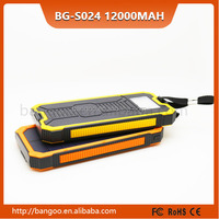2015 newest 12000mAh Mobile Solar Charger External Battery Portable 12000mah Power Bank for smartPhone