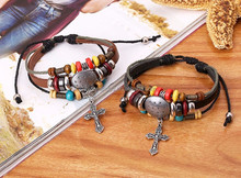 Wholesale hot selling cheap black & brown color adjustable genuine leather handmade fashion couple charm bracelet with cross