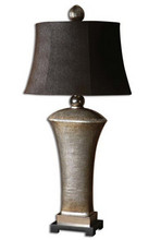 antiqued silver champagne leaf with antiqued cast aluminum accents high quality poly Table Lamp with suede chocolate textile