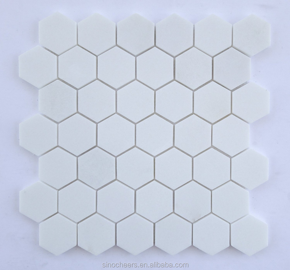 pure white polished hexagon marble mosaic tile buy