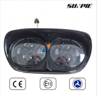 Replacement Parts! 45W Dual LED Front Lights,12V Motorcycle Double LED Projector Lens Head Light for Road Glide Ultra Harley