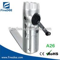 A26 Tuner radio AM/FM Dynamo Emergency flash light