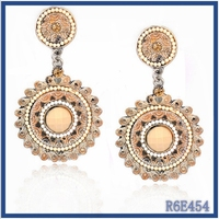 2015 trendy fashion seed beaded earring Bangladesh brand dangling earrings with ball imported from china