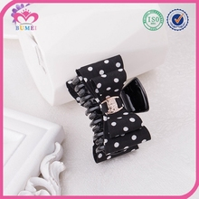 White-dotted print hair claw fabric clip for girls