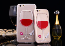 New arrival 3d Liquid Red Wine Glass Phone Case for iPhone 6 6 plus,Liquid case for iphone 6 plus
