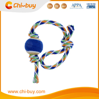 Durable Non-toxic Cotton Dog Chewing Rope Toys with A Strap Tennis Ball Puppy Pet Toy