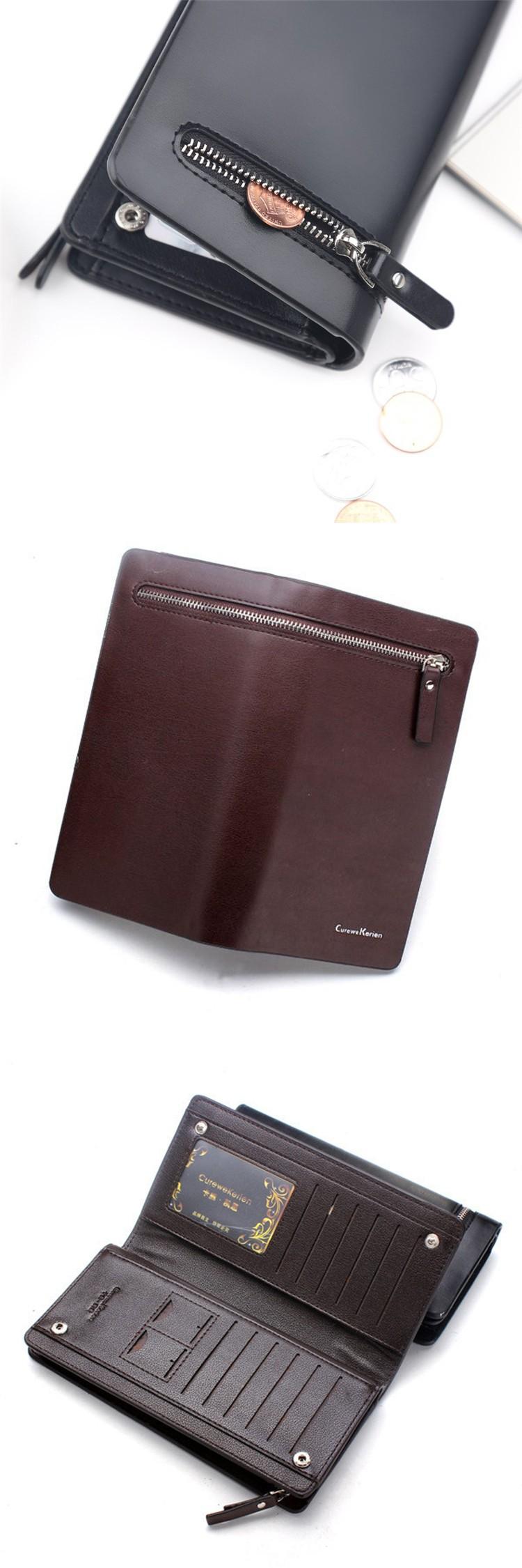 2016 Wallet Mens Pu Leather Long Zipper Purse Business Style Curewe Dompet Fashion Kerien 008 009 010 011