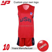 Newest Sublimation printing blank custom international team red basketball jersey uniform design
