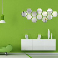12pcs/lot Best Price Best Promotion 3D Mirror Geometric Hexagon Home Acrylic Wall Sticker Home Decor Art DIY