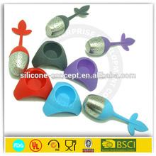 Colorful leaf shape tea infuser silicone