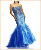 2015 new design long strapless royal blue sexy beaded mermaid see through tulle party dress imported from china
