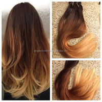 hot fashion brazilian human hair ombre color wavy hair tape extensions