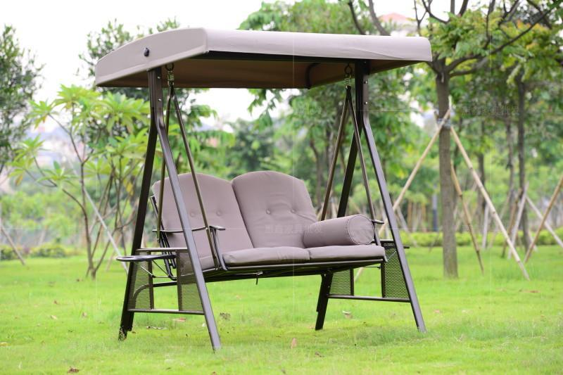 Swing Chair In Wrought Iron Free Standing Outdoor Garden 2