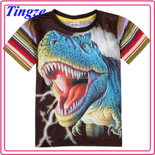 Wholesale new design short sleeve baby boy clothes dinosaur 3d printing t shirt TR-E09