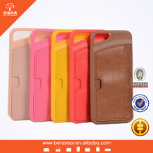 TPU and leather card slot mobile phone case for iphone 6