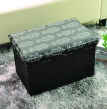 Faux Leather Folding Storage Ottoman Black Foot Rest Stool Footrest