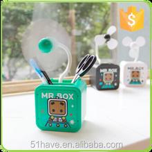 Free sample! Hot lovely promotion table plastic small cartoon simple desk usb mini fan