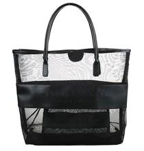 Wholesale Classic High Quality beach tote Black Mesh PU Large Beach bag/Tote bag/Shopping bag