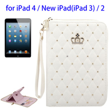 Hot Diamond Encrusted leather tablet case for ipad 2 3 4 case cover