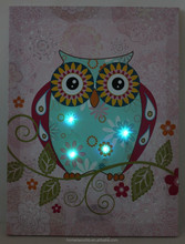 2015 lastest led owl canvas paintings with lights up wall art for home decor wolesale factory in china