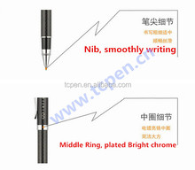 metal carbon fiber pens with logo ball and roller refill 500m warranty