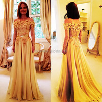 JM. Bridals ONE316 Custom Made Elegant Chiffon Rosettes Off the Shoulder Golden Yellow Evening Dresses with Long Sleeves