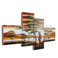 100% Hand-painted abstract African woman Painting Africa landscape wall art on canvas - 4 piece art set