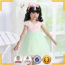 classic girls cotton frock designs summer short sleeve tutu dress kids