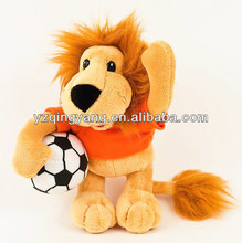 High quality stuffed animal cheap and cute soft plush lion with football toy for children