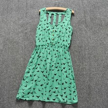 New Fashion Women's Ladies green Sleeveless Hollow Out Back Slim Fitting Evening Dress SV013001