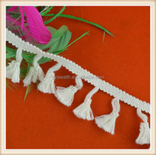 White cotton fringe trim for decoration/dress/curtain/ ladies/long top/ skirt high quality made in China