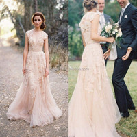 Champagne Tulle Cap Sleeve A Line Appliqued Lace Bridal Changing Dresses MW055