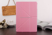 Folding kickstand protective tablet cover case with transparent back shell for iPad Mini(Light Pink)