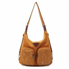 las mujeres bonitas de lona del hombro bolsa de convertir a una mochila a partir de una bolsa de hombro cruzada cuerpo bolsa