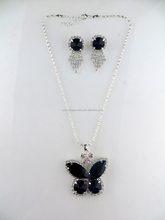 Paradise jewelry,latest design jewelry set butterfly shape black acrylic stone necklace,black acrylic tassel earring