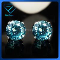 Wholesale 3~10mm Rhodium Plated Topaz Blue AAAAA Zircon Single Stone 925 Sterling Silver Stud Earrings