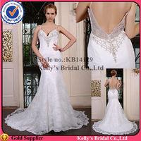KB14129 Spaghetti Strap swaetheart nekline lace open back mermaid wedding dress