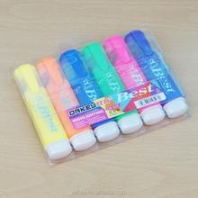 Ex - usine prix de haute qualité chine fabricant encre fluorescente multicolore Six couleur pétale surligneur stylo