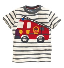 YD1045new2016 children clothing cotton striped car printed baby t-shirt