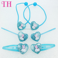 factory wholesale heart shape glitter rabbit print hair pin elastic plain plastic hair band pictures