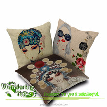 Female Role In Chinese Opera Printed Cushion Covers Home Textile Para Sofa China Style Cojines Pillow Covers