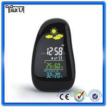 High quality cobblestone mini digital desktop alarm weather station clock, temperature humidity weather forecast clock