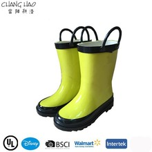 2015 New Design Handle Style Has Green Color Without Printing ,High Qulity And Cheap Rubber Rain Boot For Children