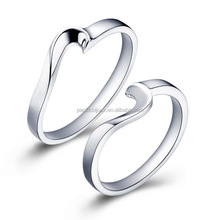 cute swan shaped white gold plated best friends rings
