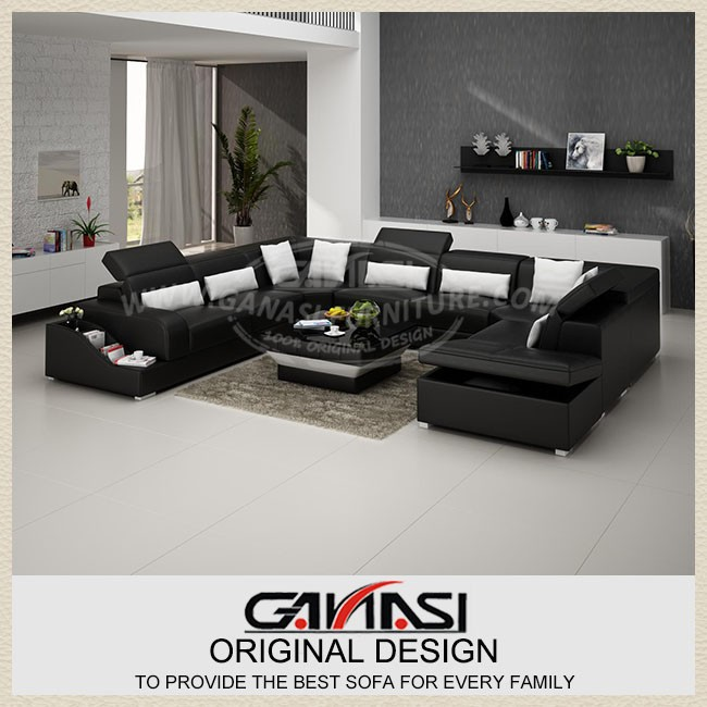Ganasi modern furniture sofa hotel long red leather salon for Durable living room furniture