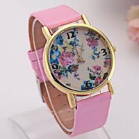 geneva style flower print rhinestone decorative silicone strap watches