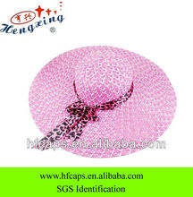 Stylish ladys pink natural grass summer beach cap hat