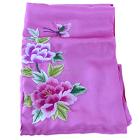 Chinese Handmade Silk Embroidery Wide Hijab Shawl