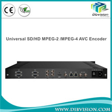 Integrated single channel MPEG2 and MPEG4 AVC SD/HD IP TV encoder with 4 stereo audio in